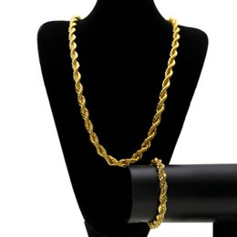 Ingrosso Mens hip hop gioielli 10mm placcato oro collana braccialetto set di catene hiphop gioielli in acciaio inox set accessori