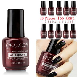 $enCountryForm.capitalKeyWord NZ - wholesale Wholesale Non Cleansing Mirror Glass Finish Top Coat 10 pcs Set 5Pcs 8ml Gel LED UV Top Gel Shinning Cover Top Coat