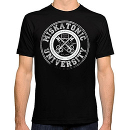 Custom Print T Shirt Cheap Australia - Cheap Mens Graphic T Shirts Miskatonic University Emblem Dark Version Short Men Crew Neck Printed Tee Tee Shirt For Men Top Design Custom Sh