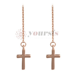 China Yoursfs Cross Stud Earrings Rose GP Crucifix Clear CZ Vintage Drop Dangle Earrings Women Jewelry cheap vintage crucifixes suppliers