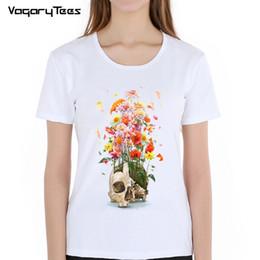 Discount flower girl tee shirts - Women's Tee Fashion Summer Women T Shirt New Design Flowers Voodoo Skull Painted T Shirt Hip Hop Tops Novelty Tee C