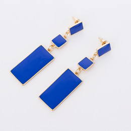 Wholesale Fashion Design Geometry Gold Color Color Alloy Blue Enamel Drop Earrings For Women Long Earrings On Valentine s Day E002
