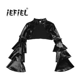cd31452a6 top top iEFiEL Negro Mujeres Steampunk Bolero Suave de manga larga frente  abierta Shrug Chaqueta Tops Nightclub traje ropa de fiesta
