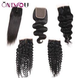 KinKy virgin hair blonde online shopping - Brazilian Virgin Human Hair X4 Lace Closure Peruvian Malaysian Indian Mongolian Body Wave Straight Deep Kinky Straight Frontal Ear to Ear