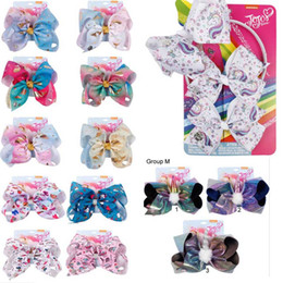 Colorful hair girls online shopping - Multi Group quot or quot JOJO Bow girl colorful Geometry print Bow Barrettes Girl Rainbow girl Hairbands Girls Hair Unicorn party hair bows