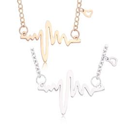cca09709ccf4 Moda ECG Corazón Collares Colgantes Simple Oro Plata Estetoscopio Collar de  Cadena de Clavícula Latido Del Corazón Para Enfermera Doctor Regalos