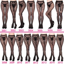 Wholesale Women Sexy Lingerie Stripe Elastic Stockings Transparent Black Fishnet Stocking Thigh Sheer Tights Embroidery Pantyhose J1749
