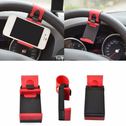 Wholesale Universal Car Steering Wheel Cradle Cell phone Holder Clip Car Bike Mount Stand Flexible Bracket Phone Holder extend to mm for iphon6 plus