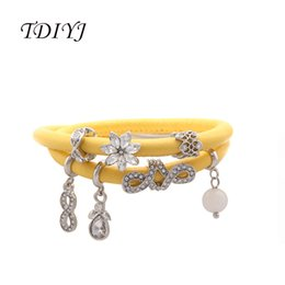 $enCountryForm.capitalKeyWord NZ - TDIYJ Light Yellow Sheepskin Leather Bracelet Magnetic Double Layers Endless Story Charms Bracelet with 7Pcs Silver Charms 1Set