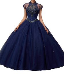 Pear Color Dress Australia - Quinceanera Dresses Navy blue small round collar with vest back strap skirt, multi-layer net, trailing mattresses gleaming, and manual mail.
