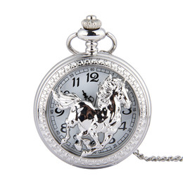 Horse tags online shopping - HORSE Pocket watch vintage pocket watch Men Women antique models Tuo table watch PW143
