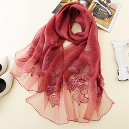 Beautiful hijaB scarves online shopping - 192cm cm Silk Scarf Women Hijab solid color Hot drilling pearl embroidered scarf beautiful girl long and soft girlfriend gift