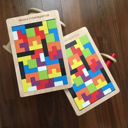 2018 tetris jigsaw puzzle Wooden Russia Tetris Children Puzzle Brain Training Toy Interesting Intellectual Jigsaw Building Blocks Gifts High Quali