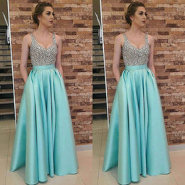 $enCountryForm.capitalKeyWord NZ - Amazing Mint Green Satin Prom Dresses Aline With Pocket Top Rhinestone Beaded Elegant Formal Evening Gowns V Neck robes de soirée Chic 2019