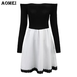 white dresses for girls casual UK - S 5XL White and Black Patchwork Color Dress for Women Retro A Line Girl Casual Robe Femme Tunic Full Sleeve Slash Neck Dressses