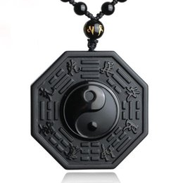 Necklaces Pendants Australia - DropShipping Black Obsidian Necklace Pendant Chinese BAGUA Men's Jewelry Women's Jewelry Y18102910