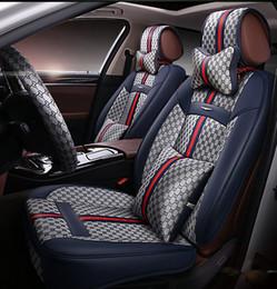Tampas de Assento de Acessórios de Interior de Carro de Ajuste Universal Para Sedan PU de Couro de Luxo Assentos de Cinco Adornos de Cercadura de Assento de Design de Cobre para SUV