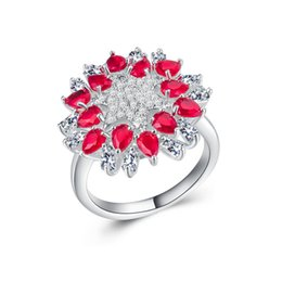 Ruby gemstone foR Rings online shopping - Exquisite Women Ruby Gemstone Cz Anniversary Jewelry Silver Filled Wedding Ring for Lover Promise Gift Size