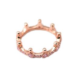 EnchantEd rosEs online shopping - 2018 Spring Pandora Ring Sterling Silver Rose Gold Pink Enchanted Crown Rings Original Fashion DIY Charms Jewelry For women Making