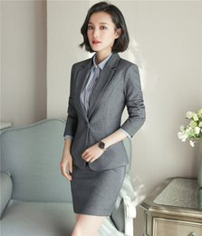 ol suit uniform 2019 - 2 piece Set Ladies Office skirt suit New 2018 spring Business Formal OL uniform style women skirt and jacket cheap ol su