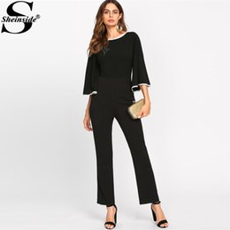 Elegant Jumpsuits Sleeves Canada - Sheinside 2017 Contrast Binding Flare Sleeve Tailored Jumpsuit Boat Neck 3 4 Sleeve Mid Waist Elegant Jumpsuit For Women