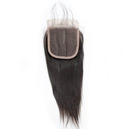 Discount brazilian indians hair - Silky Straight Fashion Lace Closure with Baby Hair 1pc Middle Part Three Part Brazilian Peruvian Malaysian Virgin Hair S