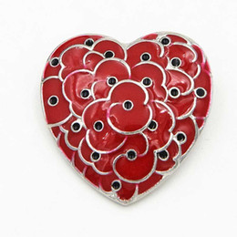 6f08f89ea Heart Shape Red Poppy Flower Brooches Pins For Women Men Suit Broach  Anniversary Badge Enamel Breastpin UK Legion Remembrance Day Lapel Pins