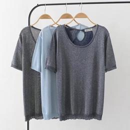 0a862630b53 oversized Plus Size Short Sleeve Women T Shirt Sky Blue Dark Blue Lurex  Knitted t-shirt Women Tops Tshirt Summer Tee Shirt