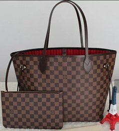 3565d99abd3c hot sale AJLOUIS VUITTON NEVERFULL old flower handbag+wallet top leather  shoulder bag clutch shopping package LOUIS