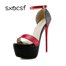 Discount super high white shoes - Super High Heels Ladies Sexy Elegant Platform Sandals Buckle Strap Open Toe Cover Heel Stilettos Thin Pumps Party Weddin