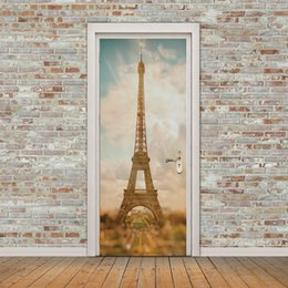 $enCountryForm.capitalKeyWord NZ - 2pcs set 77*200cm DIY 3D Effect Romantic Paris Tower Beautiful View France DIY Door Sticker Wall Mural WallpaperArt Decor Mural Room Decal