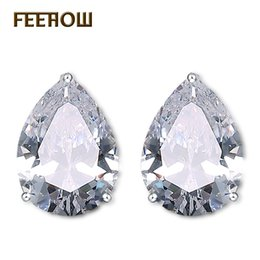 pear studs NZ - FEEHOW Fashion Pear Cut 9mm & 6mm Water Drop Cubic Zirconia Crystal Stud Earring For Women Fashion Clear Crystal Bijoux FWEP262