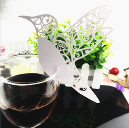 Wholesale MOQ 200PCS Creative Wedding Party DecorationLaser Cut Paper Wine Glass Place Card wedding decorations free shipping BP081