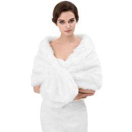 Chinese  Winter Autumn Cheap Wedding Bridal Wraps Bolero Faux Fur For Wedding Evening Party Prom Jacket Coat Winter White Fur Shawl Wedding CPA1614 manufacturers