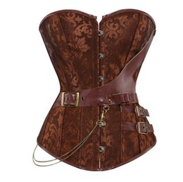 jacquard corset 2019 - Women's Sexy Brown Jacquard Gothic Corset Steampunk Faux Leather Chains Bustier Waist Sliming Plus Size S-6XL cheap