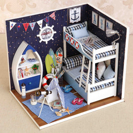 d toys 2019 - Dollhouse DIY Doll house Miniature Furnitures LED 3D Wooden House Model Handmade Crafts Toys Gifts For Dolls Children H0