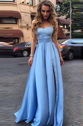 $enCountryForm.capitalKeyWord NZ - Sky Blue Prom Dresses 2018 Elastic Satin Lace Appliques Split Strapless Sweetheart A-line Sweep Train Evening Gown Custom Made Free Shipping