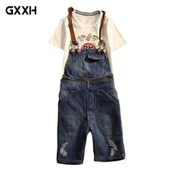 Discount short ripped jeans for men - 2018 New Mens Distressed Short Jeans Ripped Jumpsuit Denim Overalls Men Cargo Pants with Suspenders Denim Bib Overalls f