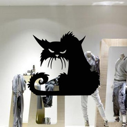 shop bathroom decor UK - Black Cat Wall Stickers Halloween Plane Cartoon Window Glass Stickers Children Home Decor Shopping Mall Hallowmas Decal 42*37cm