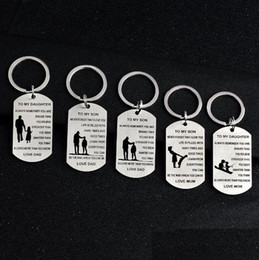 Wholesale DAD MOM TO MY SON TO MY DAUGHTER Key Rings Personalized Custom Military Dog Tags Pendant Gift Never Forget That I Love You
