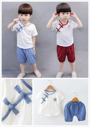 Boy Chinese Suit Australia - Summer fashion chinese style costume tang suit for baby boy and girl cotton clothes short sleeve top with shorts 2 pcs set outfit 80cm- 12cm