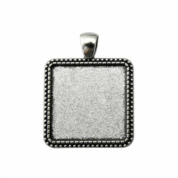 Wholesale Pendant Sets NZ - 9 Pieces Cabochon Cameo Base Tray Bezel Blank Jewelry Findings Components Simple Perforation Inner Size 25mm Square Necklace Pendant Setting
