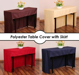 Cloth Bouquet Australia - Polyester Table Cover with Skirt Wedding Bouquet Registration Table Cloth Wedding Hotel Table Decoration Tablecloth Multi Sizes
