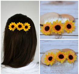 $enCountryForm.capitalKeyWord NZ - Flower Barrette Wedding Hair Accessories Bride Barrette Flowergirl Hair Accessory Sunflower Hair Barrette