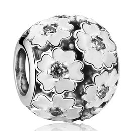 $enCountryForm.capitalKeyWord Australia - Primrose Charms Beads Authentic 925 Sterling-Silver-Jewelry White Enamel Flower Bead Fits DIY Brand Bracelets Jewelry Making Accessories