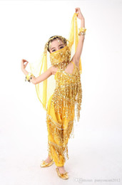 Red Indian Costumes Australia - Girl New Belly Dance Costume Performance Clothing Sequined Fringed Indian practice skirt Top pants veil bracelet training costume A0317