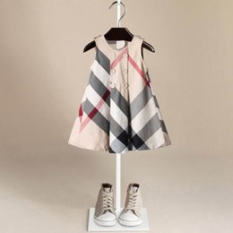 New Arrival Summer Girls Sleeveless Dress Hot Sale 5 Colors High Quality Cotton Baby Kids Big Plaid Dresses from champagne mermaid style prom dresses manufacturers