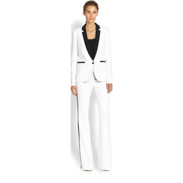 c48f6de0e8e2 Jacket+Pants Women s Business Suit White Female Office Uniform Ladies  Formal Trouser 2 Piece Suit Single Breasted Black Lapel