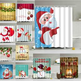 Snowman Waterproof Shower Curtain 180180cm Polyester Sleepy Pattern Bathroom Curtains Christmas Bath 94 Designs Hot