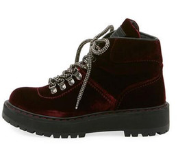 painting nylon plastic UK - Velvet Lace-Up Linea Rossa velvet combat boot ridged heel with platform Round toe Lace-up vamp